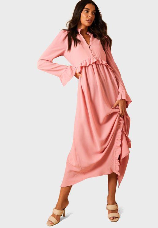 Button Down Frill Asymmetric Hem Dress