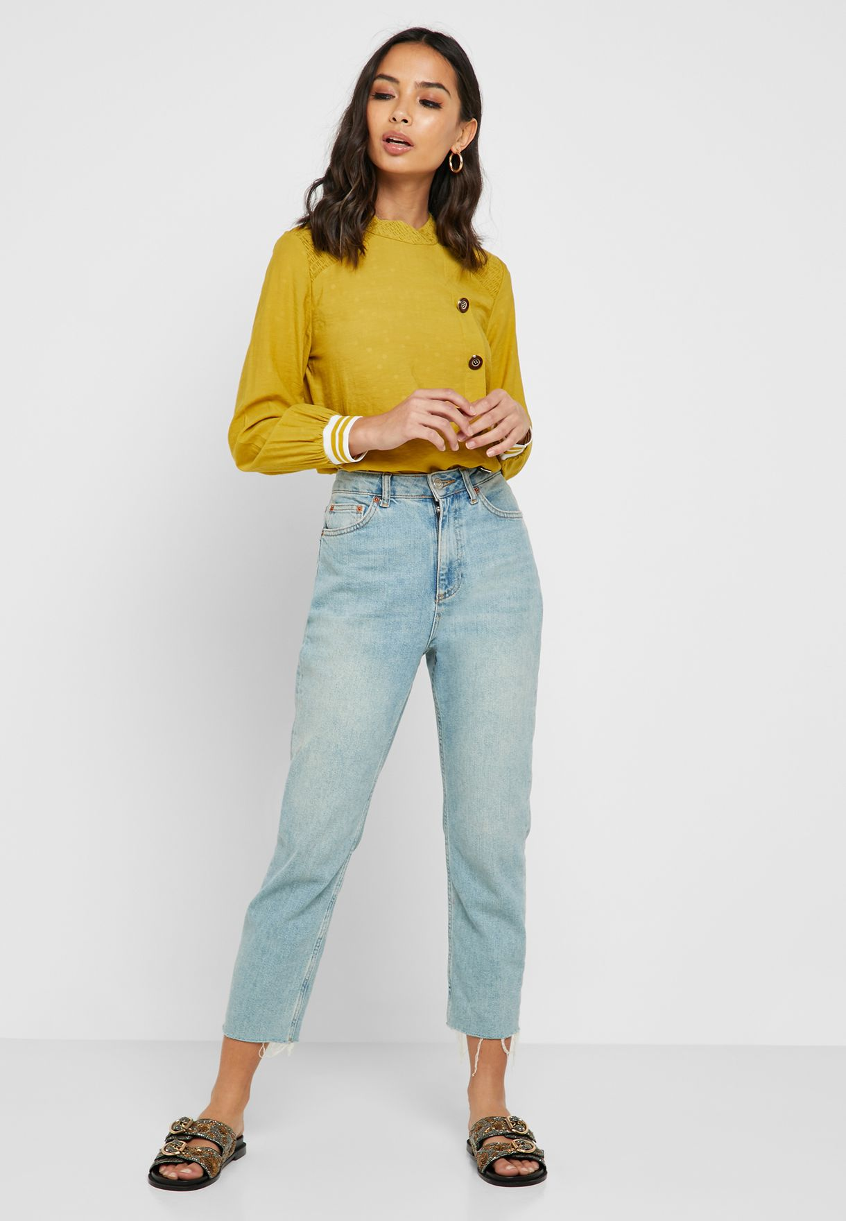 Side Button Down Top
