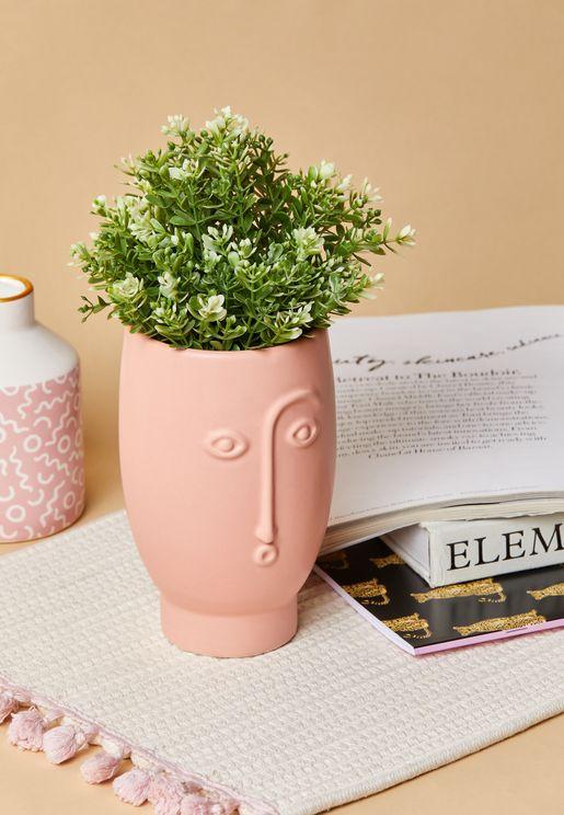 Matte Pink Face Vase