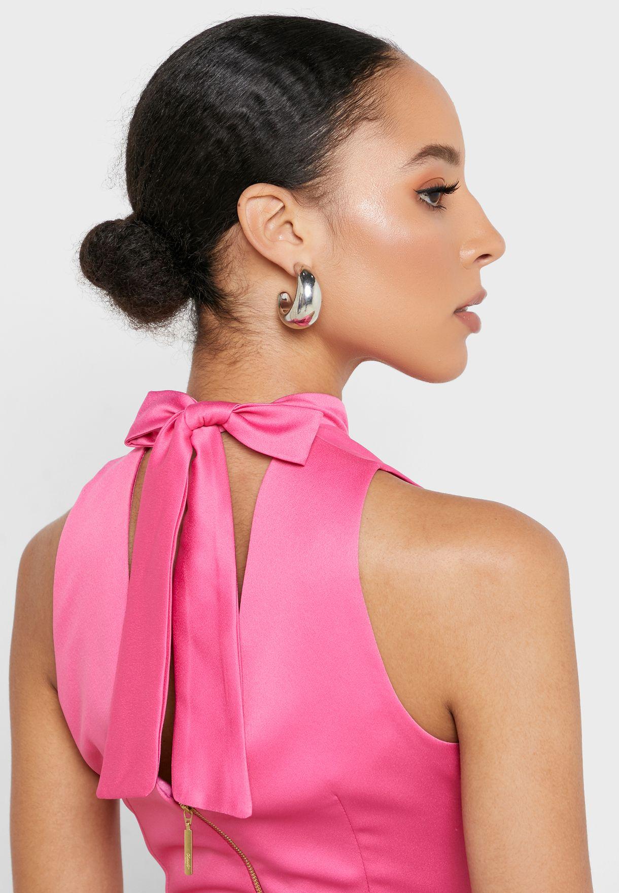 High Neck Plisse Printed Dress