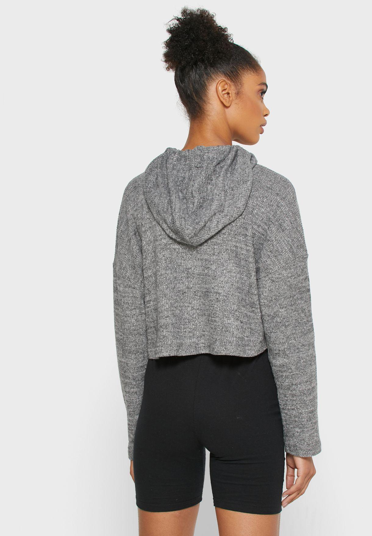 Textured Crop Hoodie