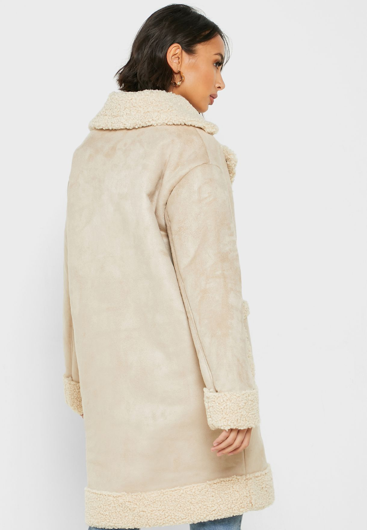 Teddy Trim Longline Coat