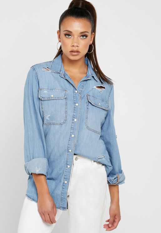 Ripped Boyfriend Denim Shirt