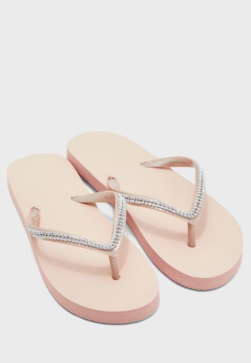 Diamante Strap Flip Flops