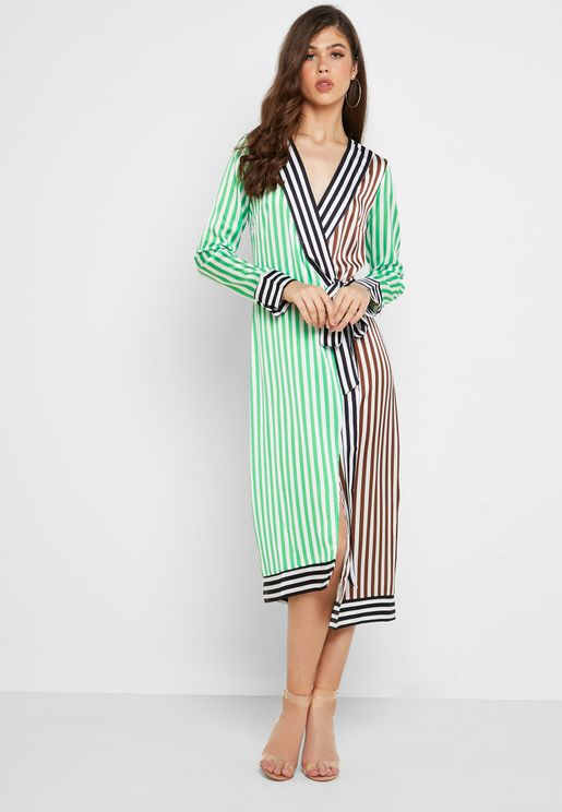 Margot Striped Satin Wrap Dress