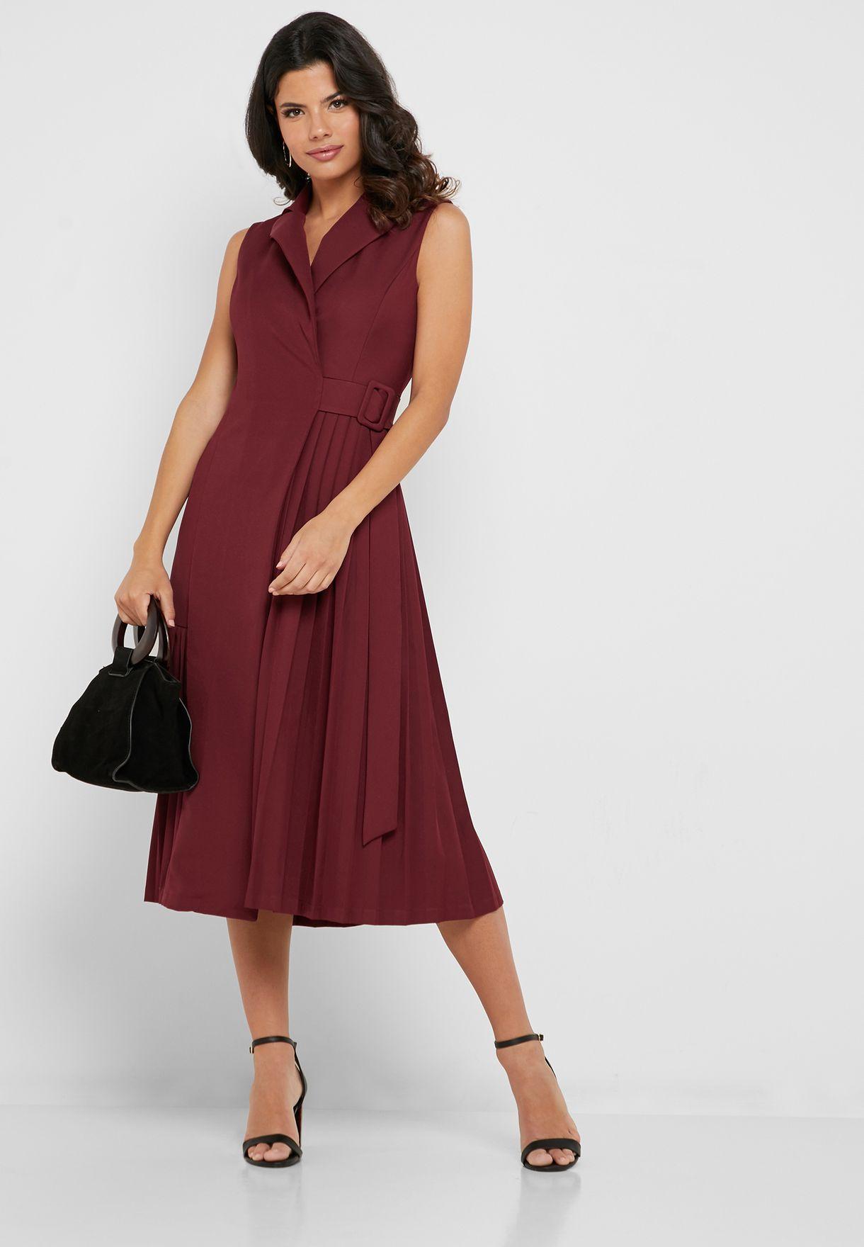 فستان ميدي بتصميم ملفوف