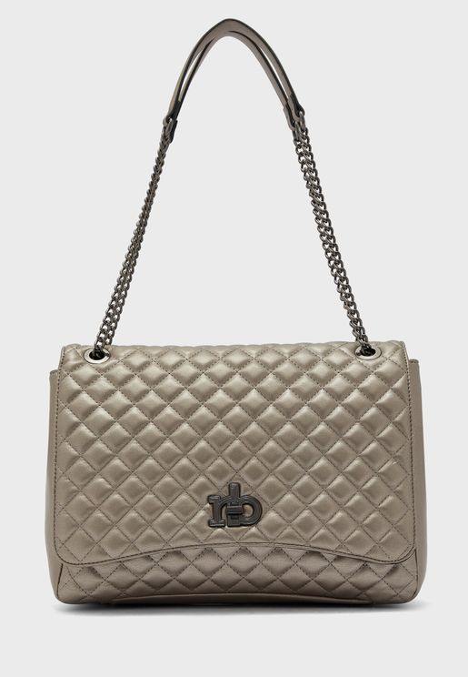 Releve Quilted Chain Detail Crossbody