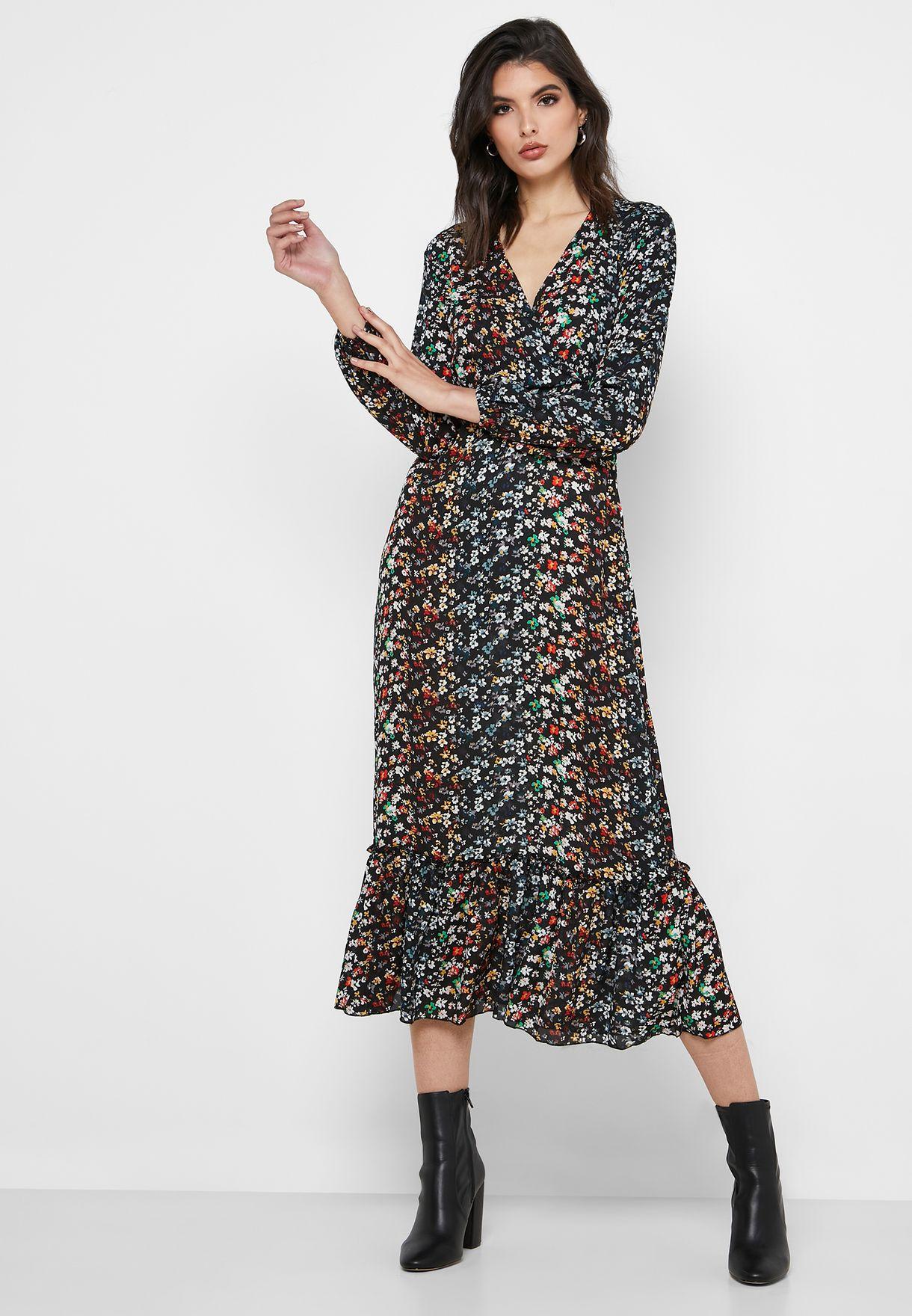 Printed Ruffle Hem Dress
