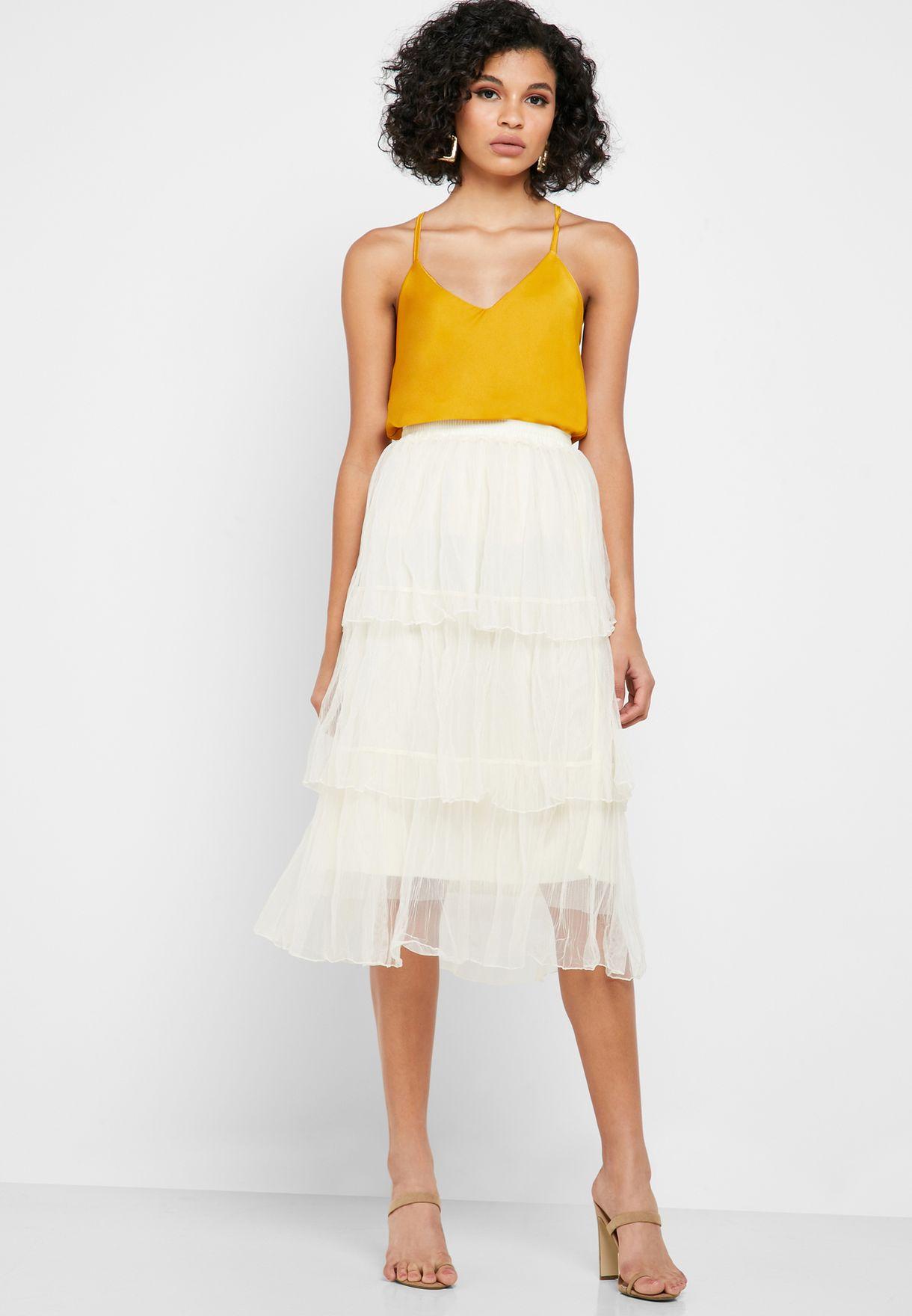 Mesh Overlay Tiered Midi Skirt