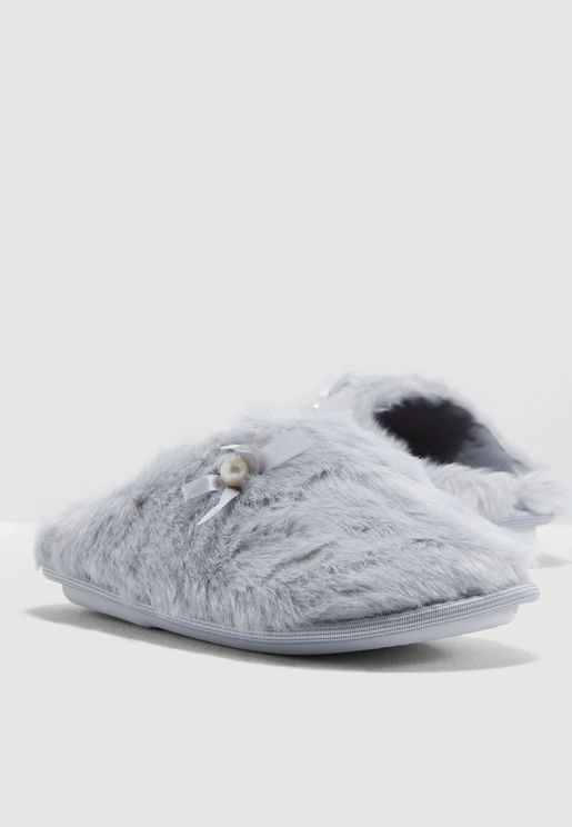 Mule Slipper With Pearl Detail