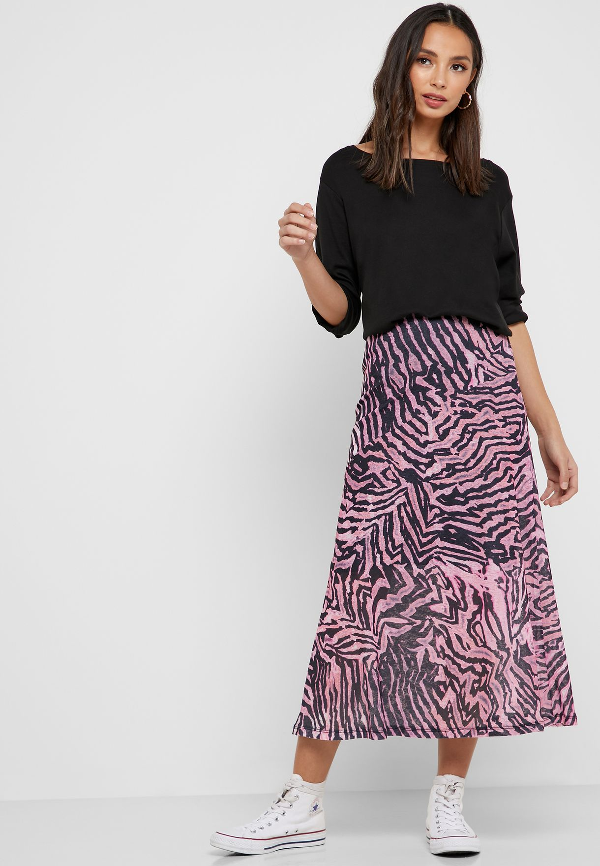 extremely unique new selection great prices Zebra Print Midi Skirt