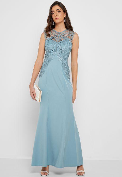 High Neck Sleeveless Lace Detail Maxi Dress