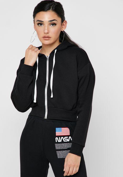 Front Zip Cropped Hoodie