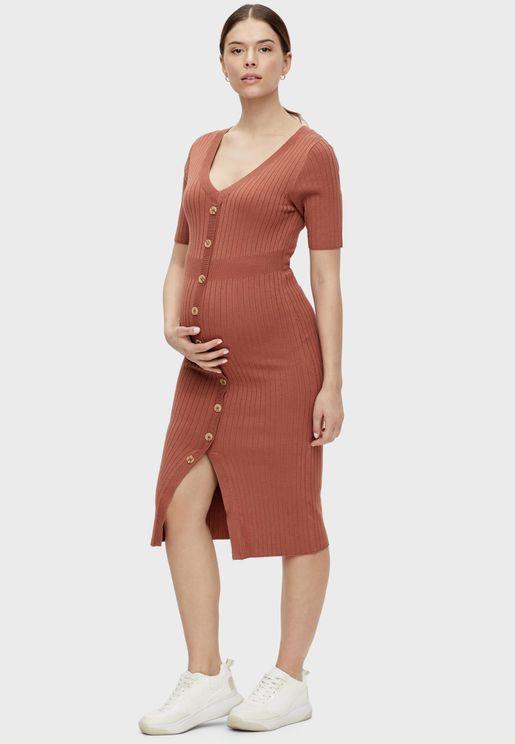 Knit Button Detail Dress
