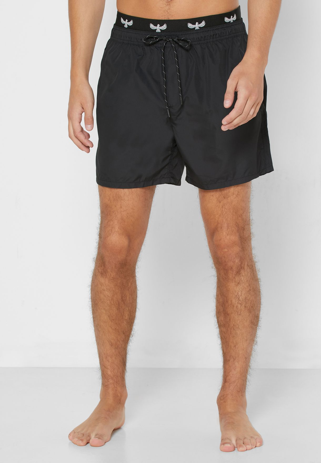 Exposed Waistband Swim Short