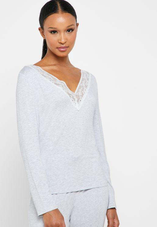 Lace Trim V-Neck Pyjama Top