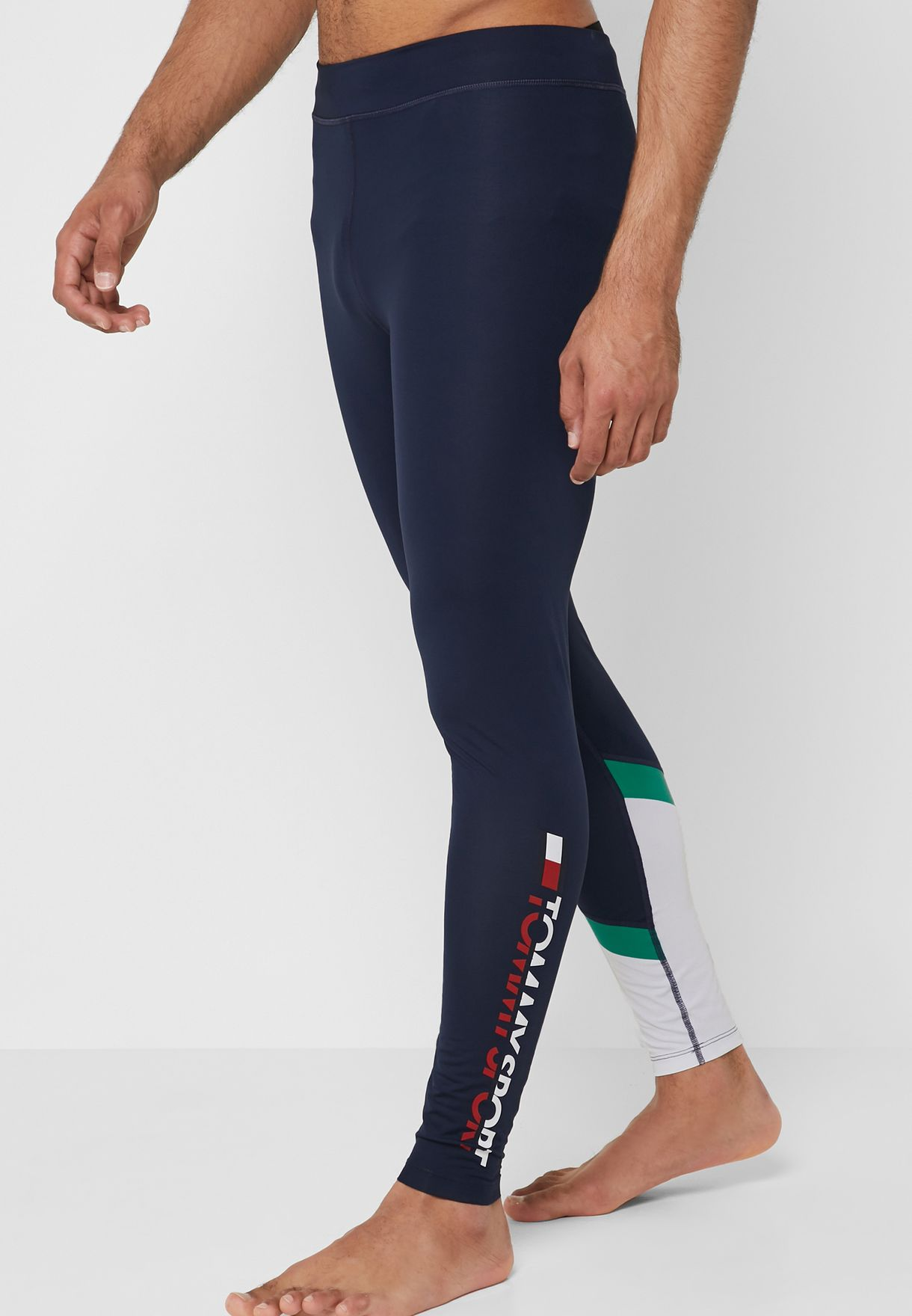 fc597aa6e28b3 Shop Tommy Sport navy Logo Tights S20S200087-302 for Men in Oman ...