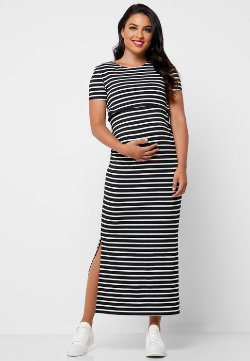 Stripe Layered Maxi Dress