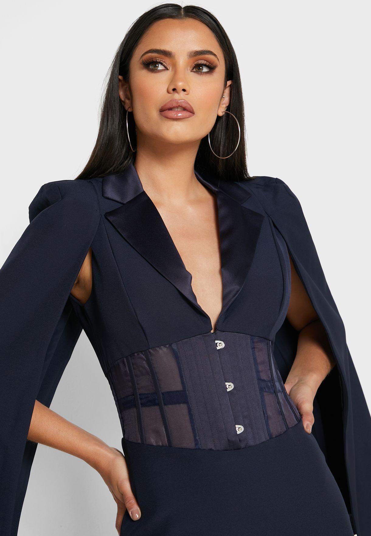 Corset Detail Blazer Dress
