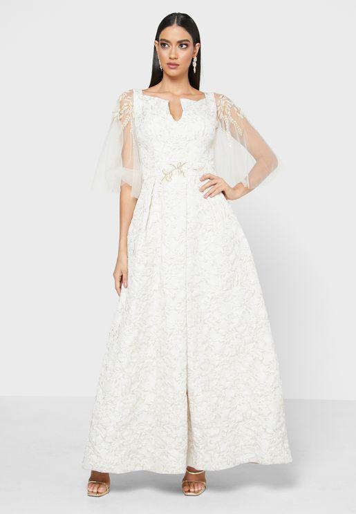 Mesh Sleeve Embellished Dress