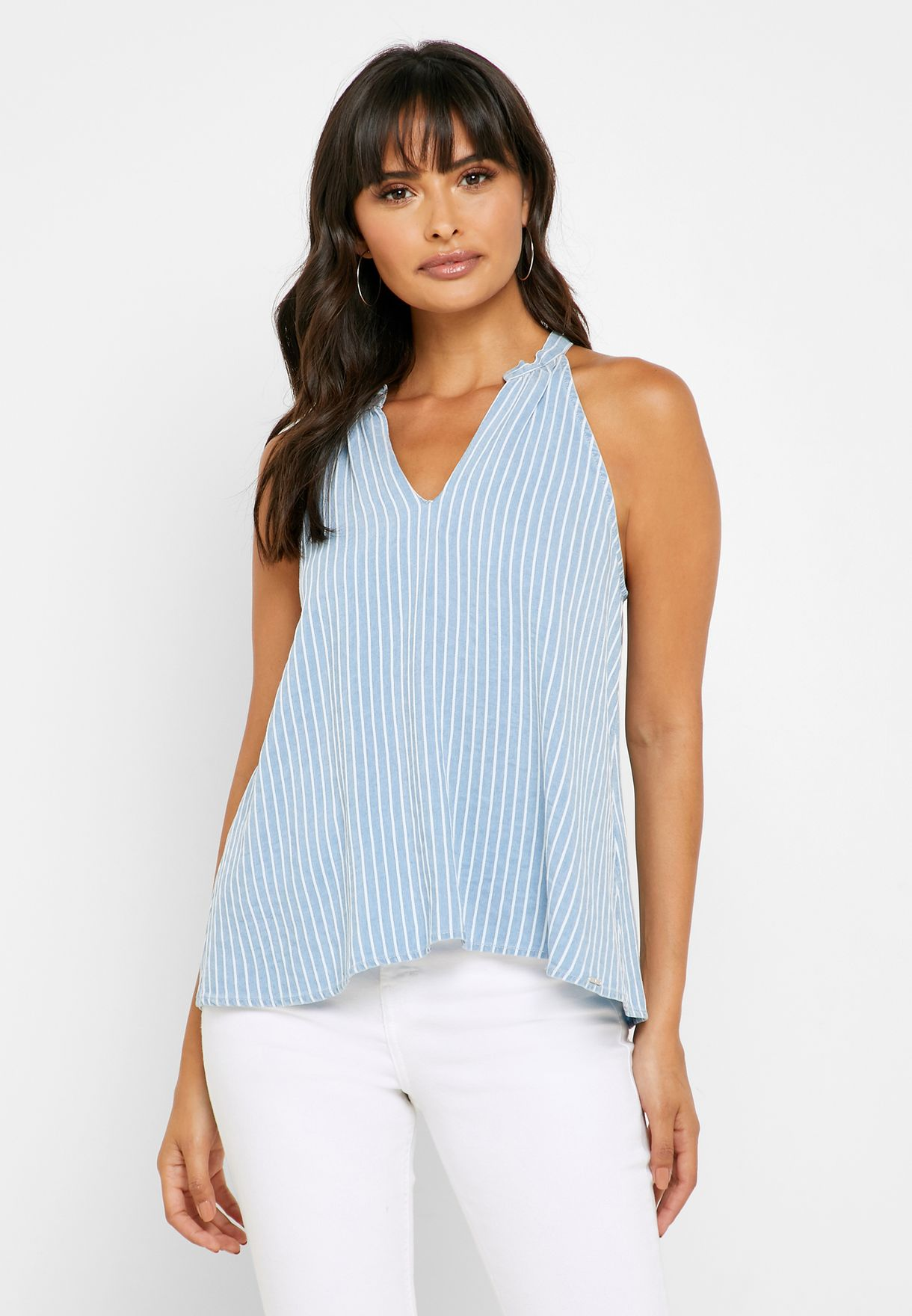 Halter Neck Striped Top