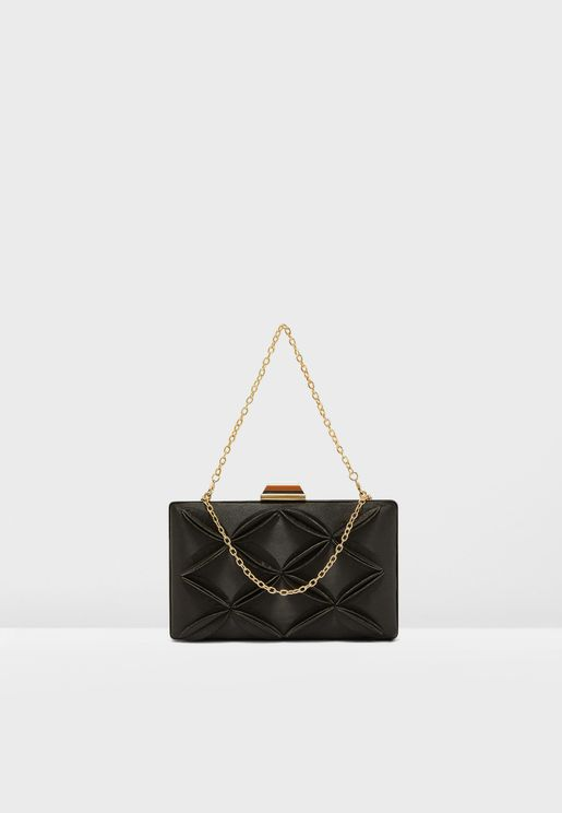 Pleat Detail Boxy Clutch