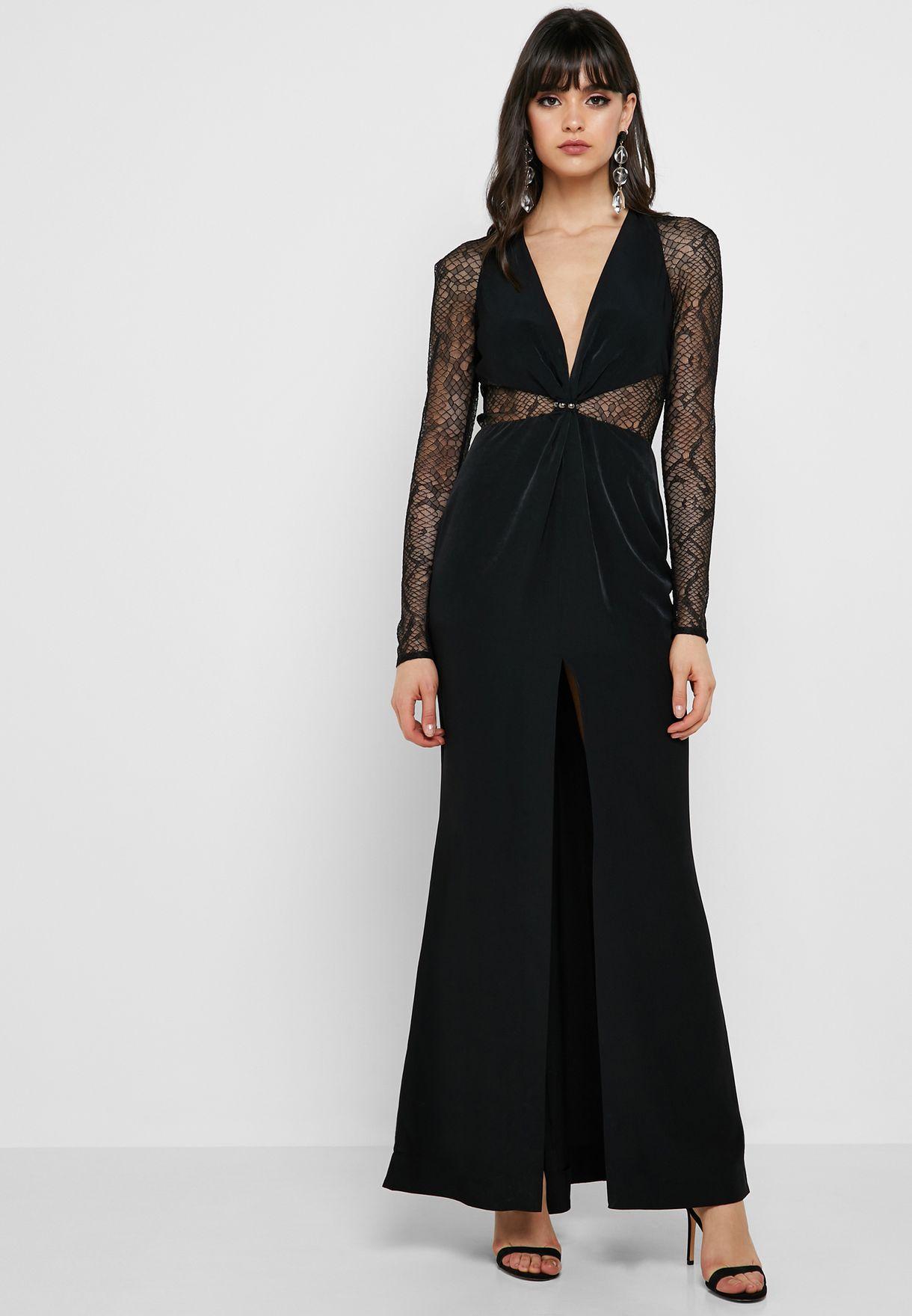 1e4c372f3df Shop Topshop black Front Split Lace Panel Maxi Dress 10U18QBLK for ...