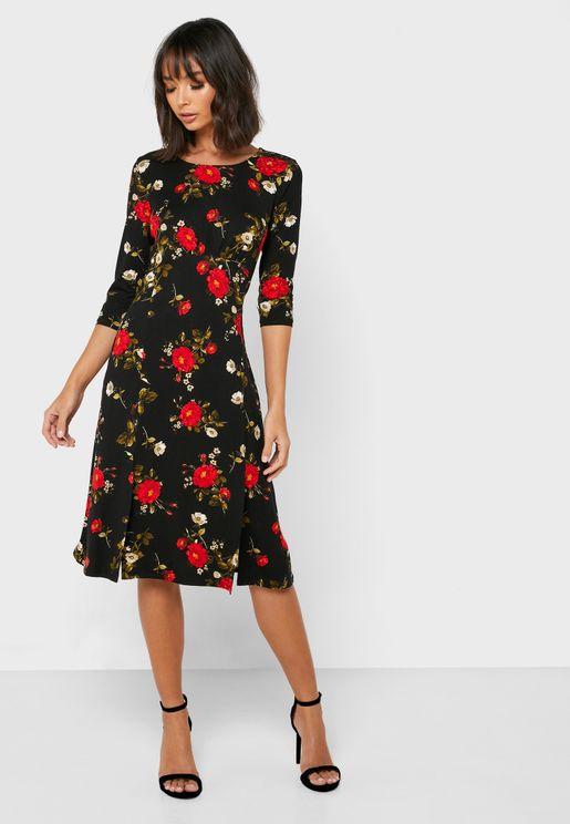 Front Split Floral Print Dress