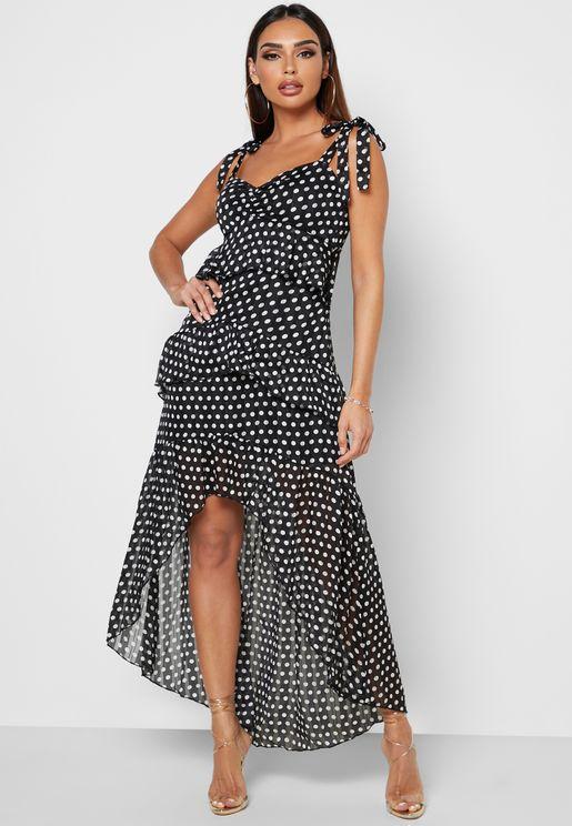 High Low Printed Dress