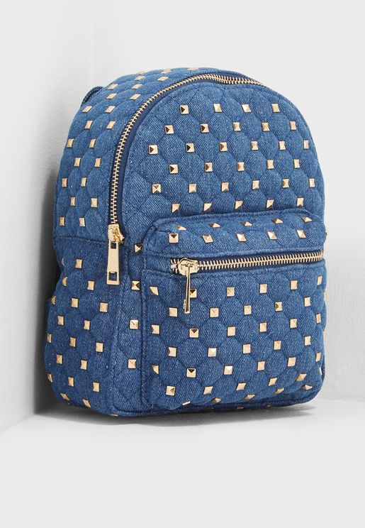 Studded Denim Backpack