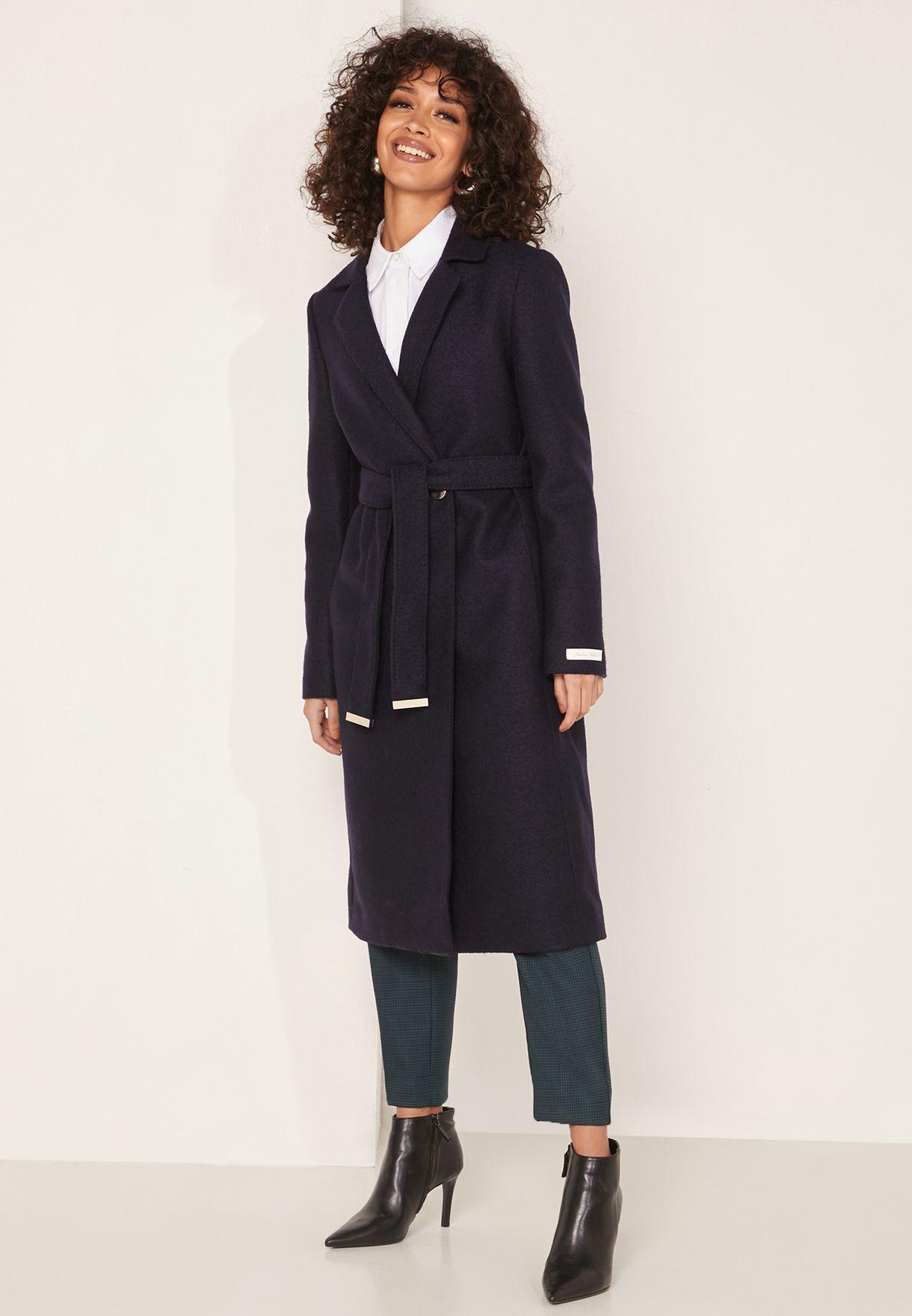 معطف طويل لف بحزام