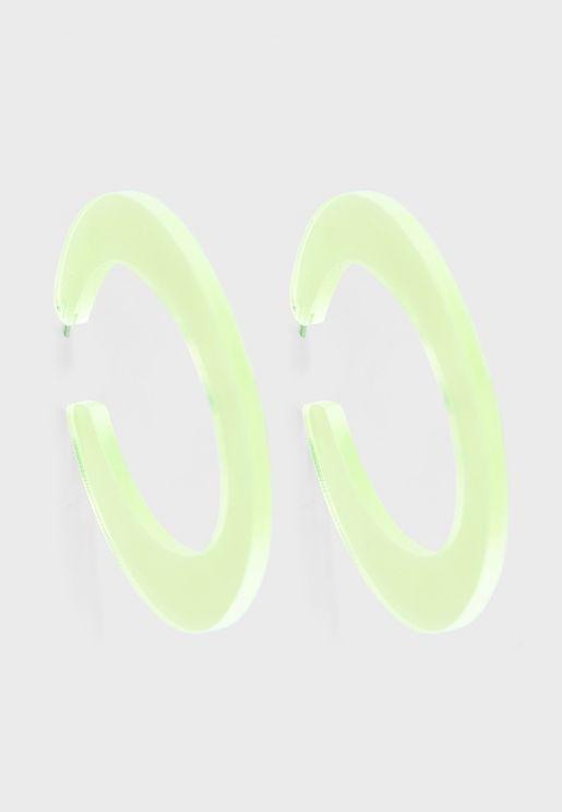 Transparent Neon Flat Hoop Earrings