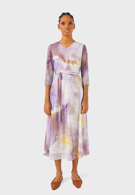 Surplice Printed Dress