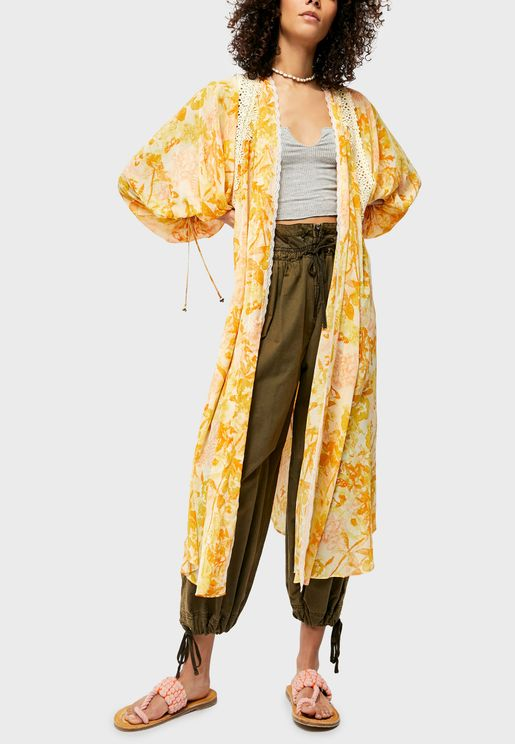 Lost In Balloon Sleeve Printed Kimono