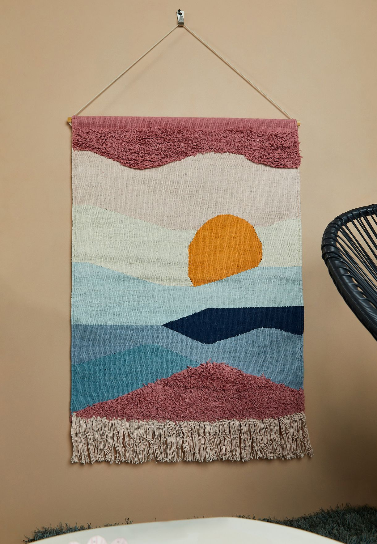 Sunset Woven Wall Hanging With Tassel