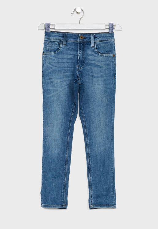 Kids Light Wash Slim Fit Jeans