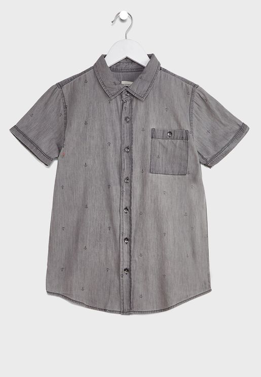 Kids Light Wash Denim Shirt