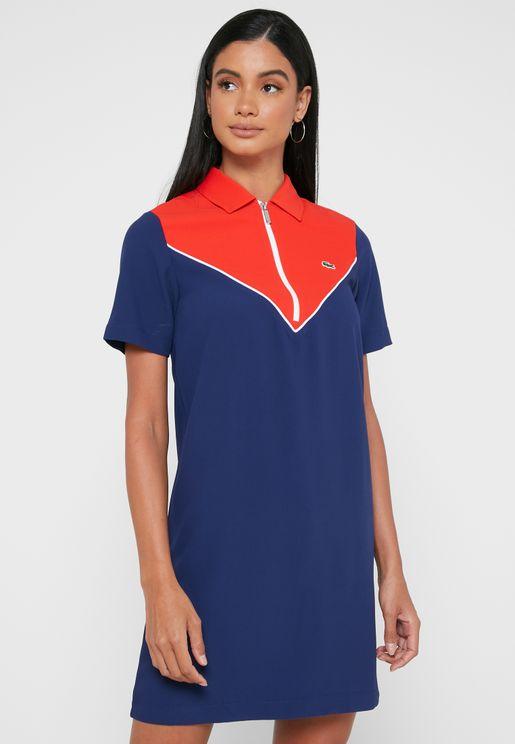 فستان شيفرون بنمط كتل الألوان