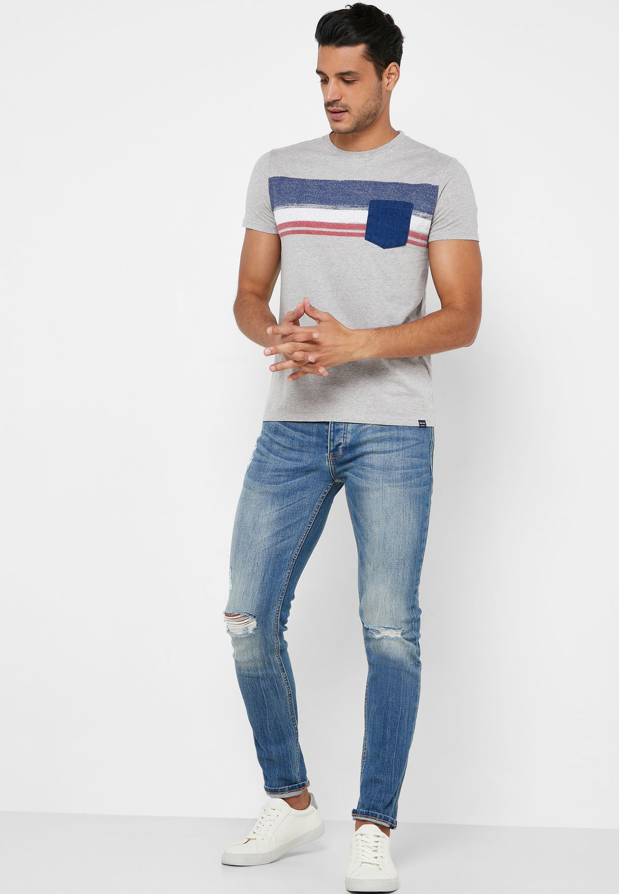 Chest Stripe Slim Fit Crew Neck T-Shirt