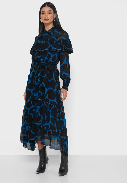 Abito Tie Neck Printed Dress