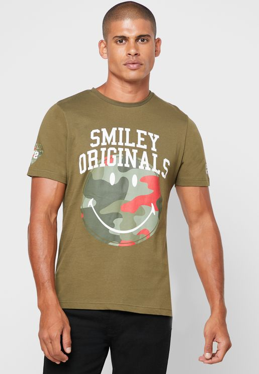 Camo Smiley Crew Neck T-Shirt