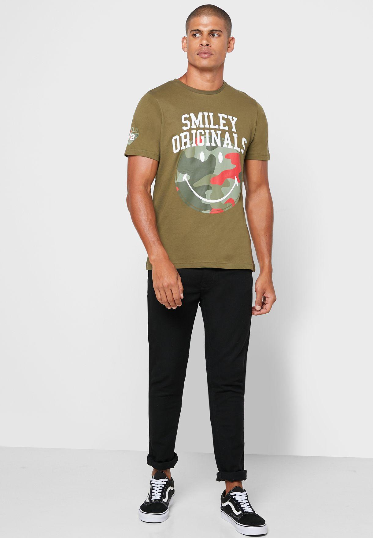 Camo Smiley Crew Neck T-Shirt