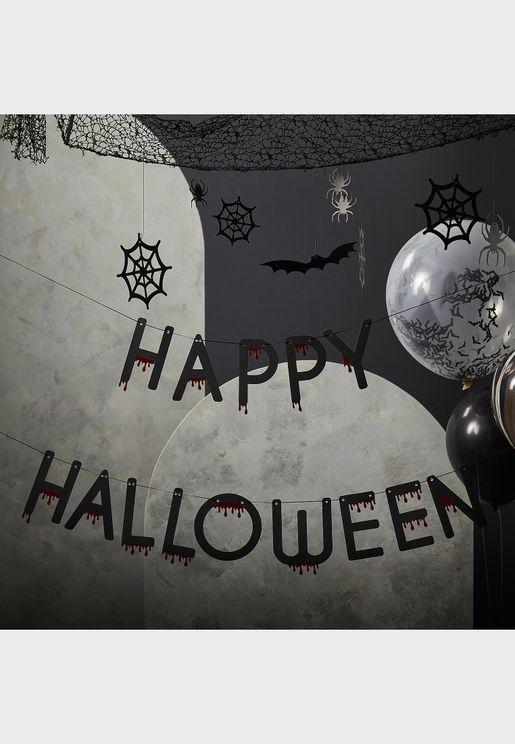 Happy Halloween - Black - Ox Blood Foile Bunting