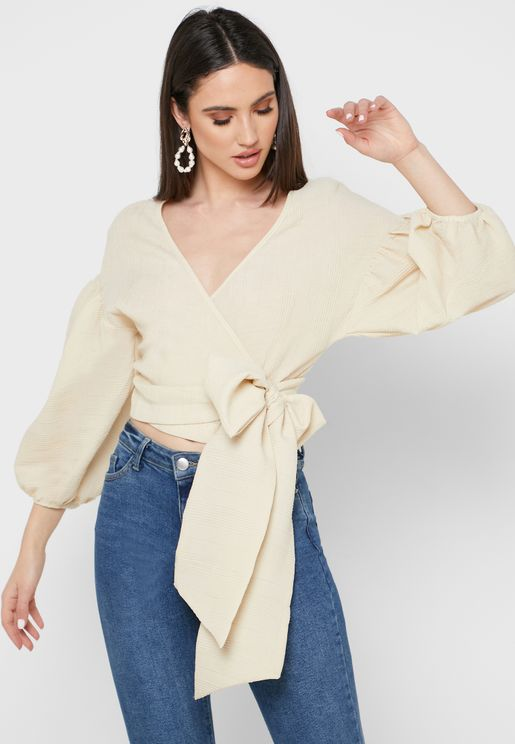 Tie Back Wrap Cropped Top