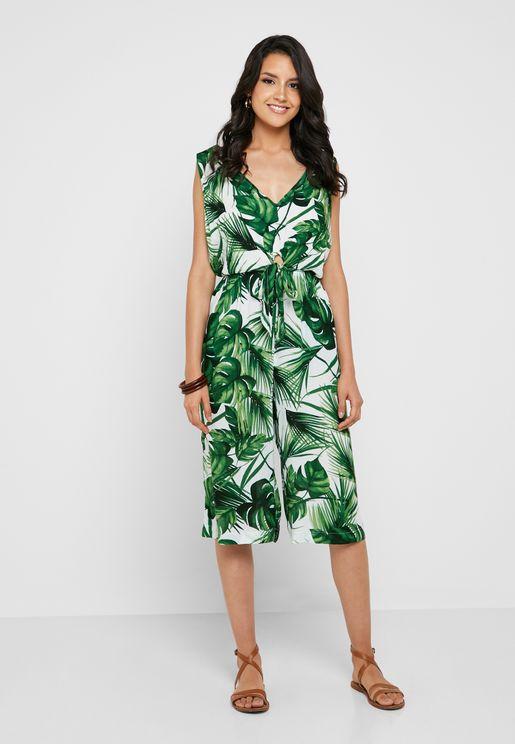 Leaf Print Knot Beachwear Jumpsuit