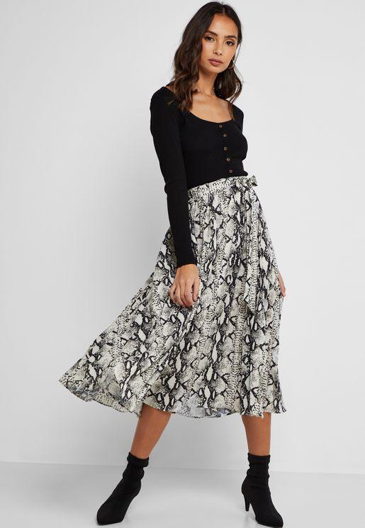 Zebra Print Wrap Front Midi Skirt
