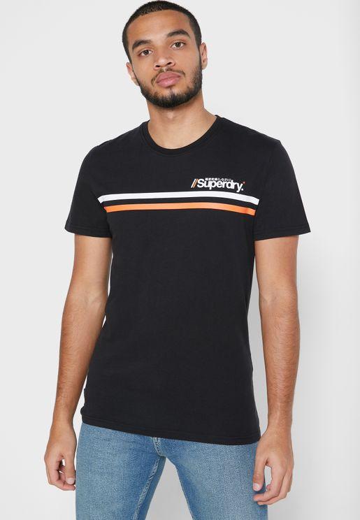 Core Logo Sport Stripe Crew Neck T-Shirt