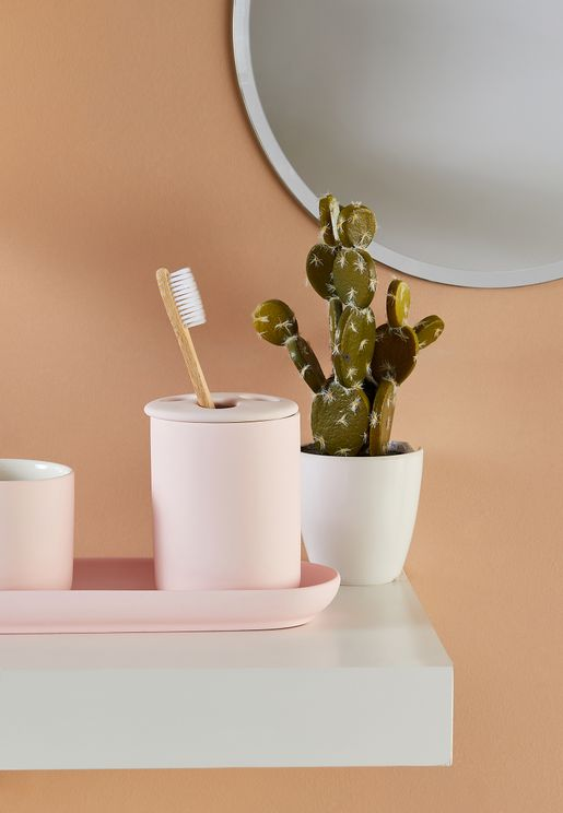 Pink Ceramic Toothbrush Holder