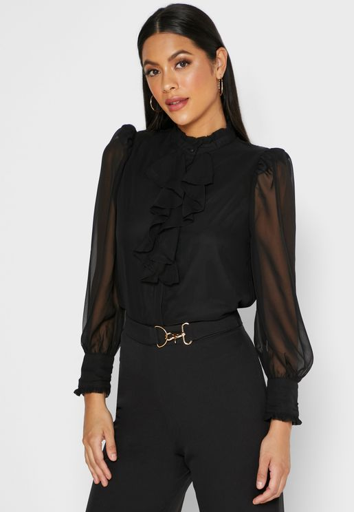 Ruffle Trim Top