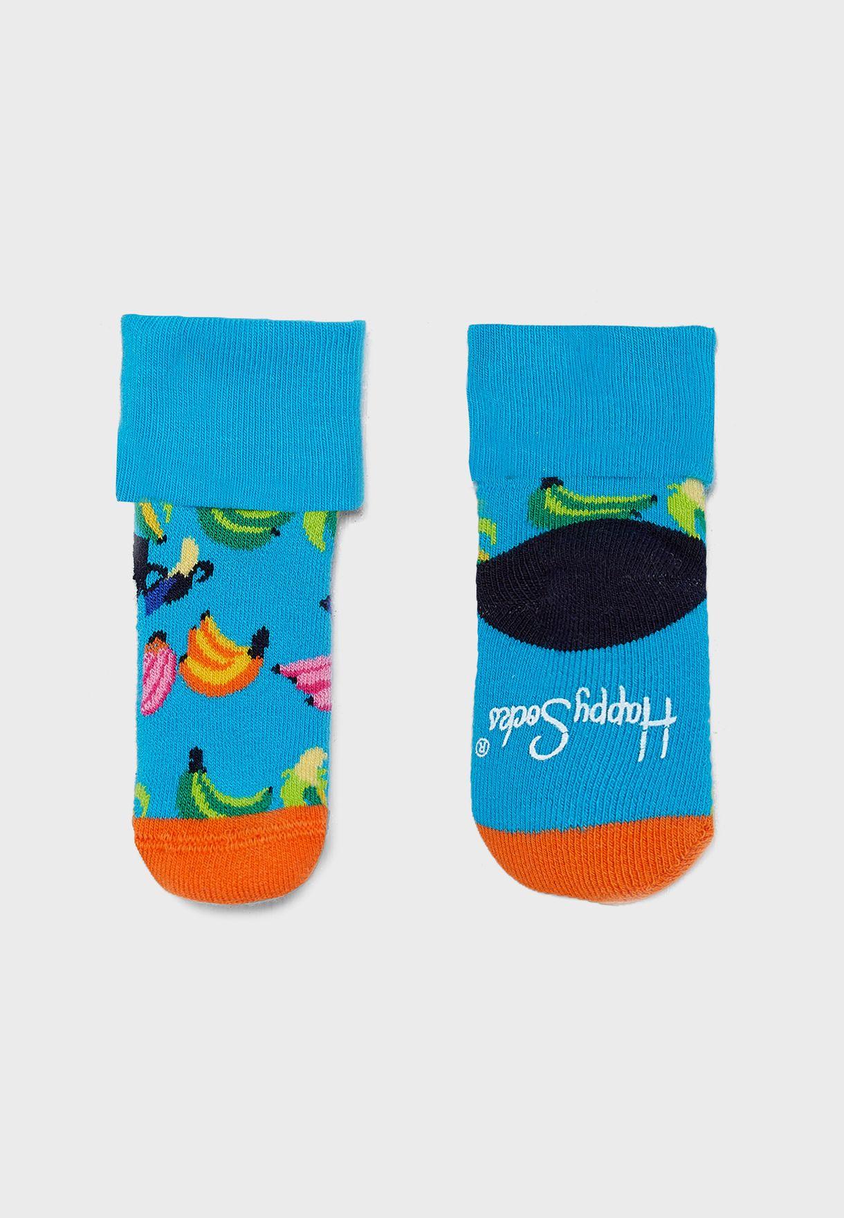 Kids 2 Pack Banana Terry Socks